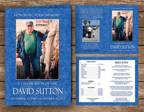 Fishing Fisherman Funeral Program Blue Ocean Color