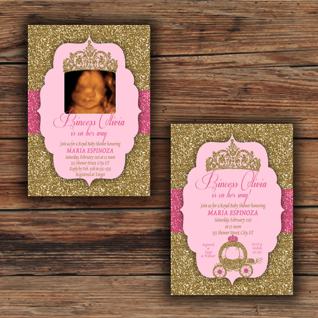 Gold glitter blush pink baby shower invitations royal princess princeglitteretsy3 stopboris Images